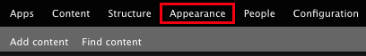 The Appearance button in the admin toolbar