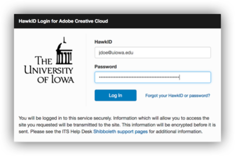 UIowa sign-in page