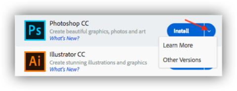 Adobe CC Installing older versions