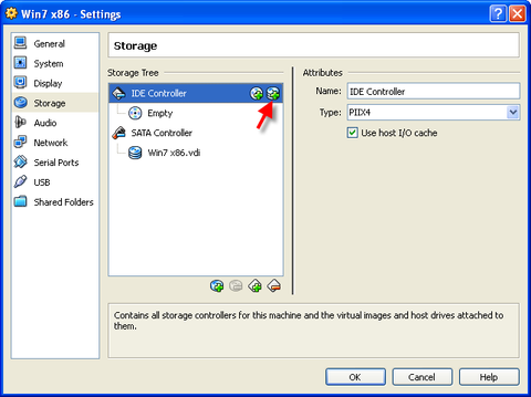 Storage Tree pane. IDE Controller highlighted. Red arrow pointing to add Hard Disk Button.