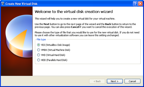 Welcome to the virtual disk creation wizard. File type: VDI bubble filled in.