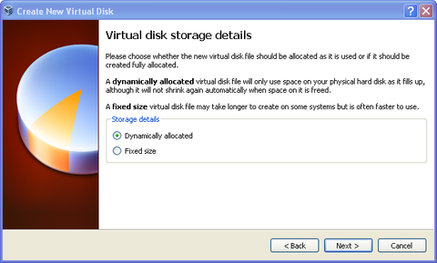 Virtual disk storage details. Storage Details: Dynamically allocated bubble filled in. Next button highlighted.