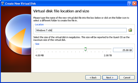 Virtual disk file location and size.