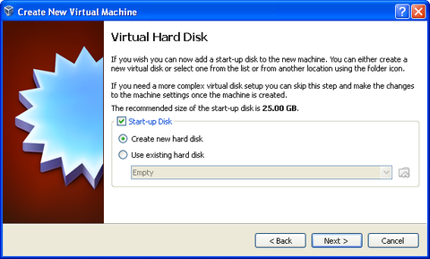 Virtual Hard Disk screen. Start-up Disk box checkmarked. Create new hard disk bubble filled in. Next button highlighted.