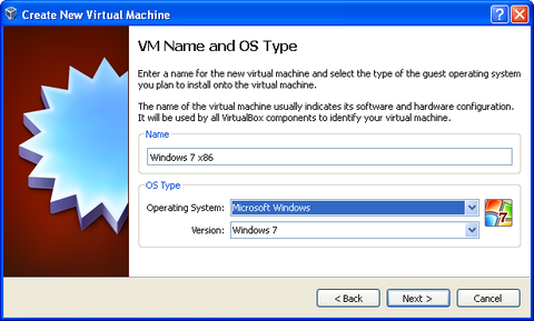 Create New Virtual Machine window. Type in a name for the Virtual Machine you are creating and choose the appropriate operating system and version from the drop boxes. Click Next button.
