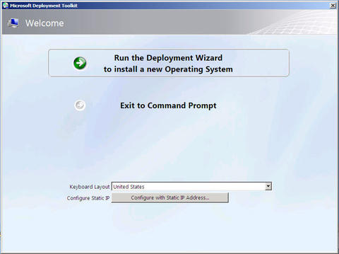 Welcome screen. Run the Deployment Wizard to install a new Operation System selected.
