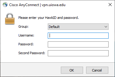 Cisco AnyConnect Login Screen for Windows