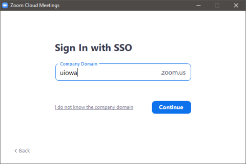 Zoom - SSO Company Domain