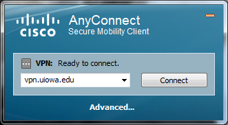Windows client. Enter vpn.uiowa.edu for server name.