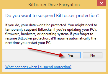 Updating the BIOS on a BitLocker Encrypted System | Information