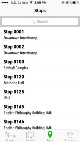 bongo app list of stops