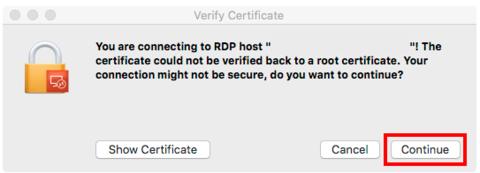 Certificate prompt