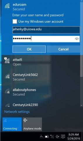 eduroam hawk ID and password