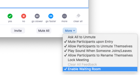 enable or disable waiting room
