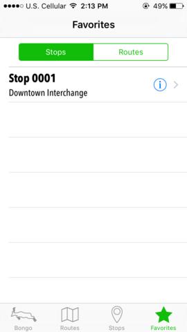 Bongo app favorites page