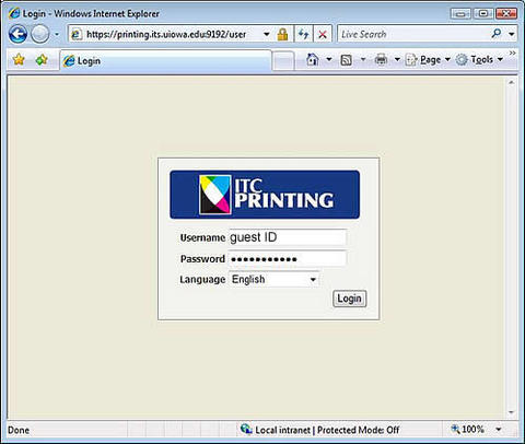 ITC Printing Guest login