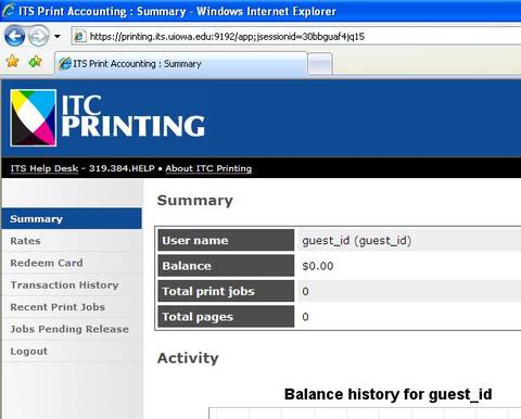 ITC Printing Account Summary