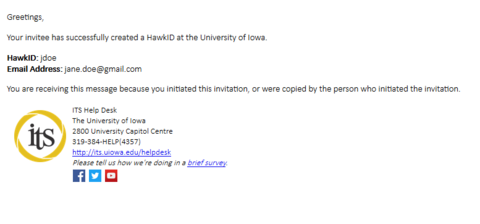A screenshot of an email indicating that an invitee has successfully created their HawkID