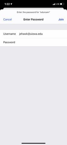 Apple iOS Login Screen for the eduroam network
