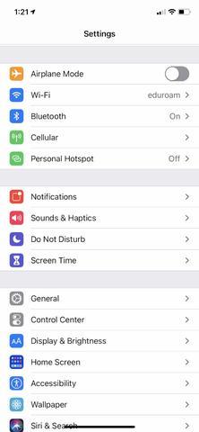Apple iOS Settings Menu where the Wi-Fi Settings can be found.