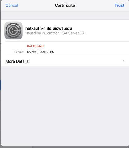 iOS Certificate Dialog