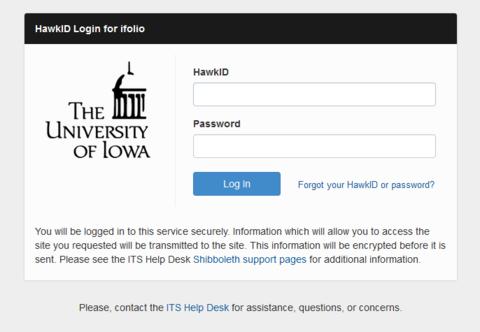 HawkID login screen
