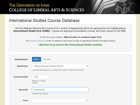 Internaional Studies Course Database custom built application sample photo