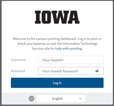 Login with your HawkID and HawkID Password