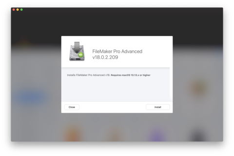 Click the install button to install FileMaker Pro Advanced 18