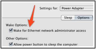 Red arrow pointing to Wake for Ethernet Network Administrator Access checkbox.