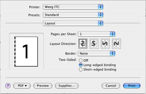 layout dialog box. Print button highlighted.