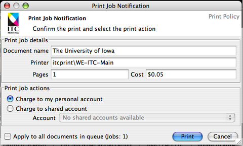 Print Job Notification message. Charge to my personal account bubble filled in. Print button highlighted.
