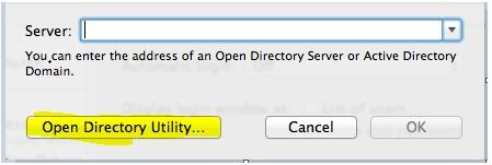 Highlighted - Open Directory Utility... button