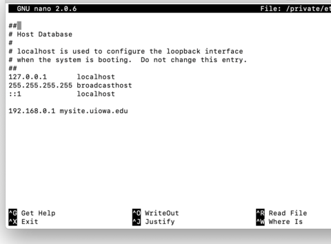 Mac hosts file example