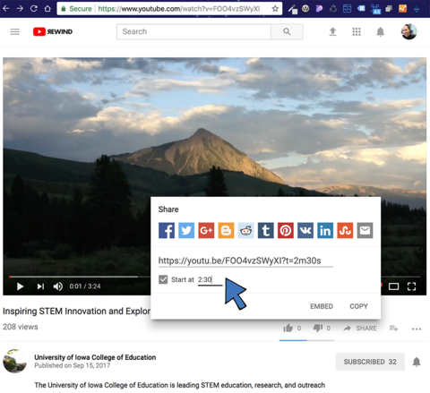 Screenshot of YouTube in browser, noting share URL