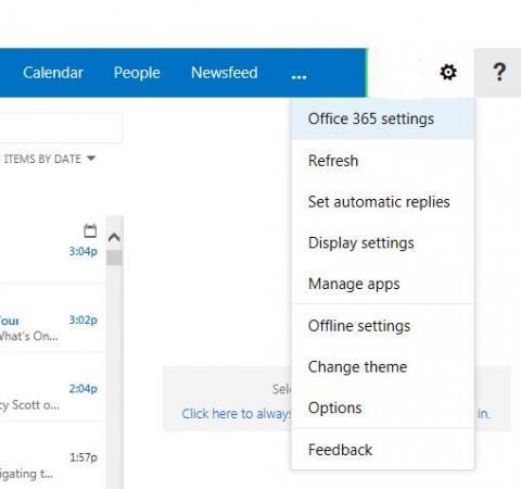 wheel gear icon dropdown menu. Office 365 settings highlighted.