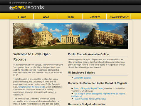 Open records custom built application sample photo