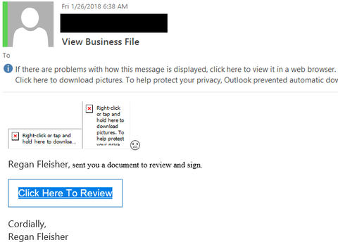 """View Business File"" phishing example with web linked images and text "" Regan Fleisher, sent you a document to review and sign.    Click Here To Review"""