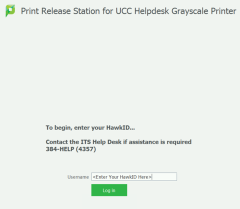 Login to Physical Print Release Station