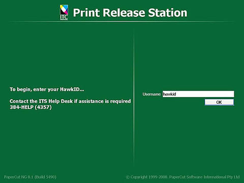 Print Release Station screen. Username: hawkid. press ok button.