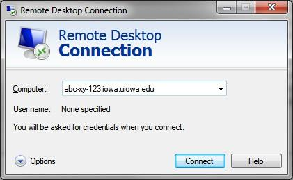 Remote Desktop Connection window. Enter your hostname (work computer name). Connect button highlighted.