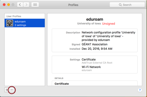 network profiles menu with eduroam selected and red circle around minus sign in lower left