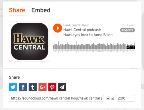 Screenshot of SoundCloud share pop-up