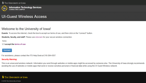 UI-Guest Wireless Access welcome screen