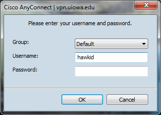 Cisco AnyConnect window. Please enter your username and password.