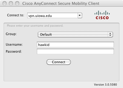 Mac client. Click Connect button.