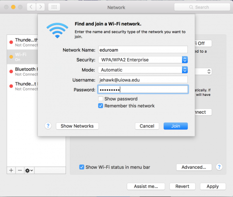 Wi-fi network password