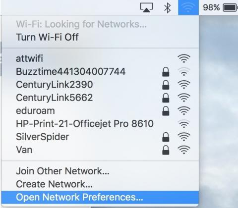highlighted - open network preferences...