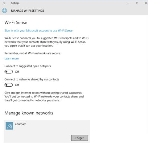Manage Wi-Fi Settings: Wi-Fi Sense