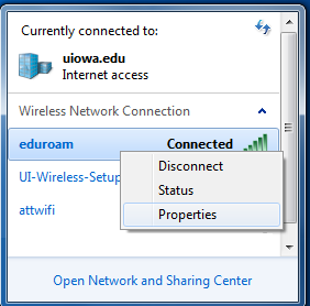 eduroam right-hand click Properties